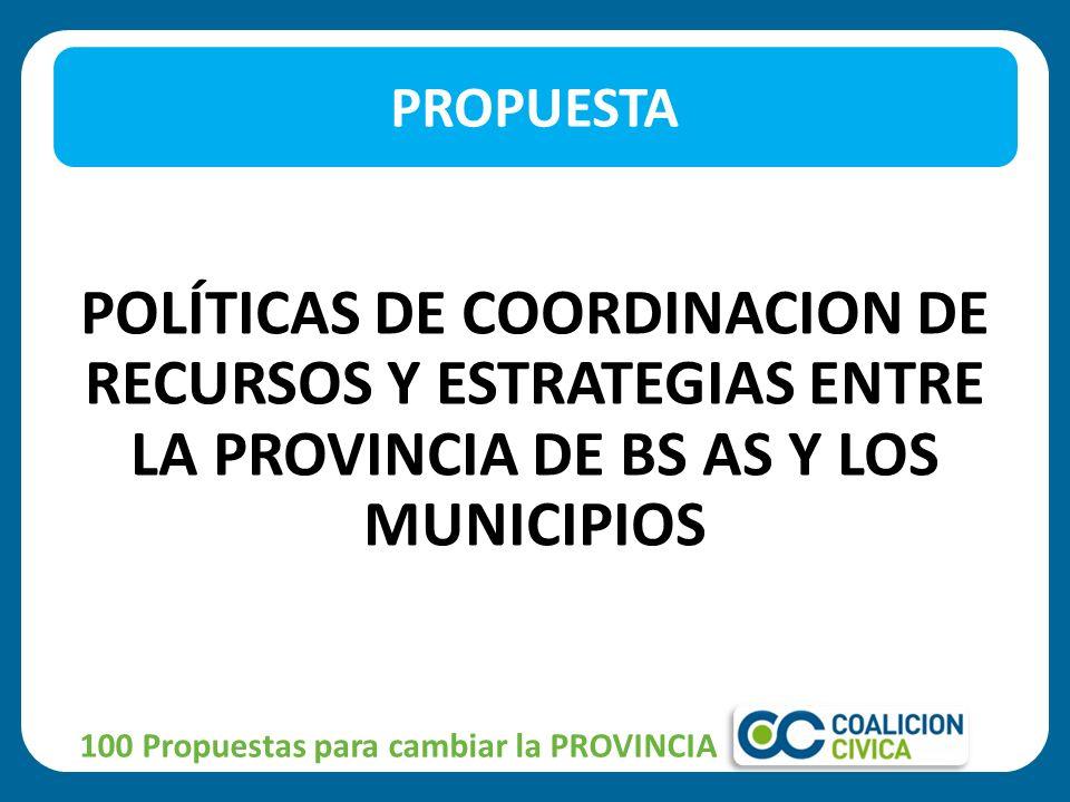 PROPUESTA POLÍTICAS DE COORDINACION DE RECURSOS Y ESTRATEGIAS ENTRE LA PROVINCIA DE BS AS Y LOS MUNICIPIOS.