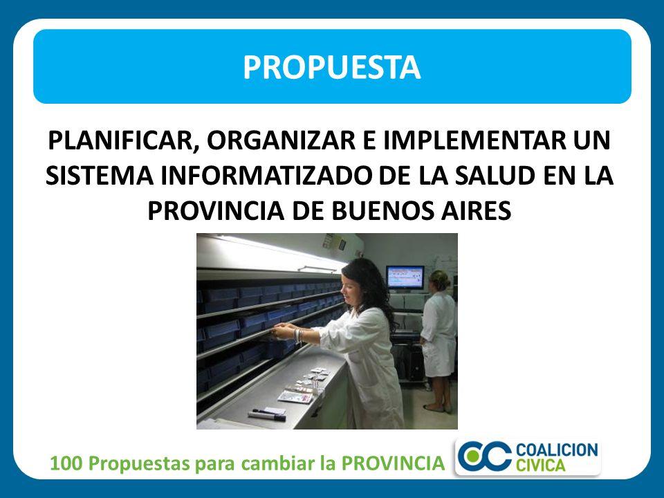 PROPUESTA PLANIFICAR, ORGANIZAR E IMPLEMENTAR UN SISTEMA INFORMATIZADO DE LA SALUD EN LA PROVINCIA DE BUENOS AIRES.