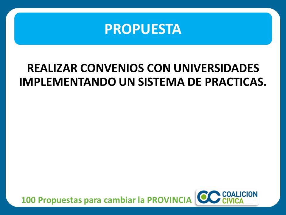 PROPUESTA REALIZAR CONVENIOS CON UNIVERSIDADES IMPLEMENTANDO UN SISTEMA DE PRACTICAS.