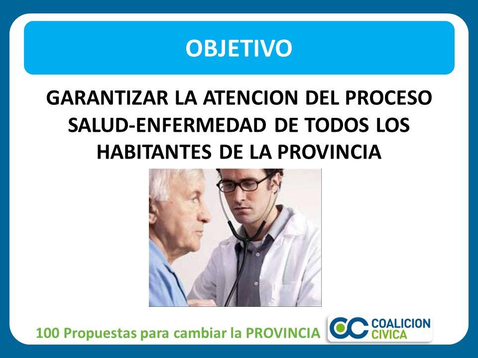 OBJETIVO GARANTIZAR LA ATENCION DEL PROCESO SALUD-ENFERMEDAD DE TODOS LOS HABITANTES DE LA PROVINCIA.