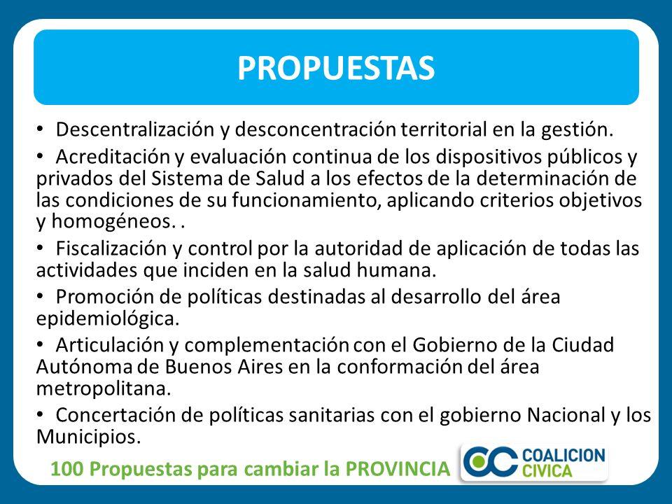 PROPUESTAS Descentralización y desconcentración territorial en la gestión.