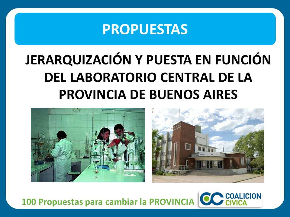 PROPUESTAS JERARQUIZACIÓN Y PUESTA EN FUNCIÓN DEL LABORATORIO CENTRAL DE LA PROVINCIA DE BUENOS AIRES.
