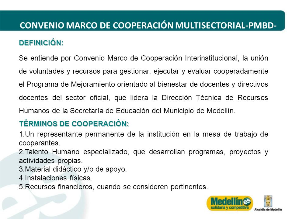 CONVENIO MARCO DE COOPERACIÓN MULTISECTORIAL-PMBD-