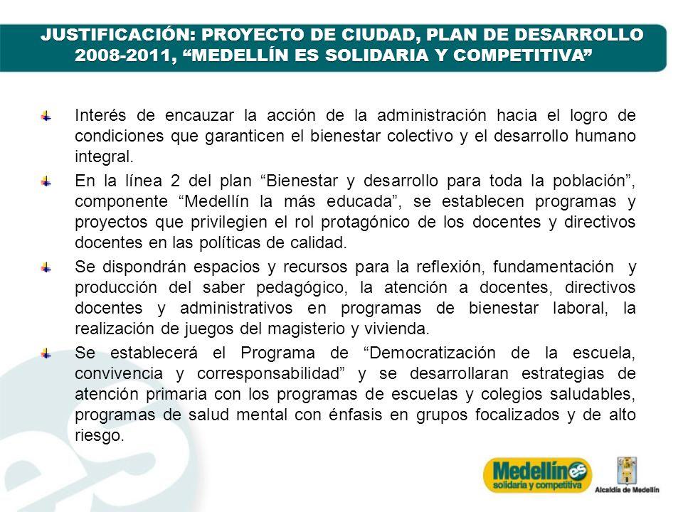 JUSTIFICACIÓN: PROYECTO DE CIUDAD, PLAN DE DESARROLLO 2008-2011, MEDELLÍN ES SOLIDARIA Y COMPETITIVA