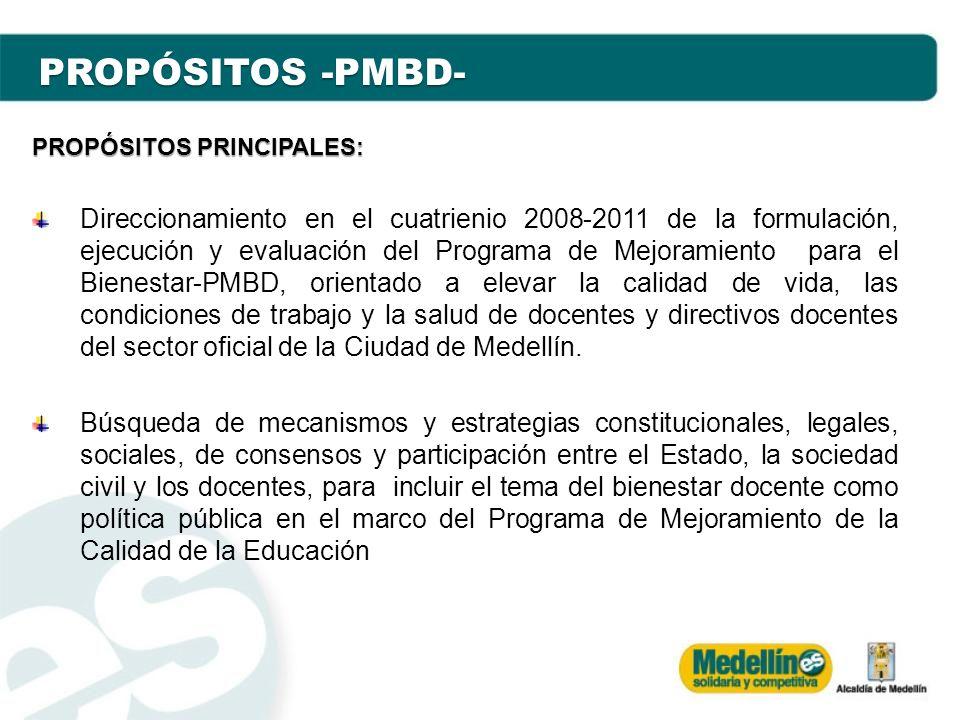 PROPÓSITOS -PMBD- PROPÓSITOS PRINCIPALES: