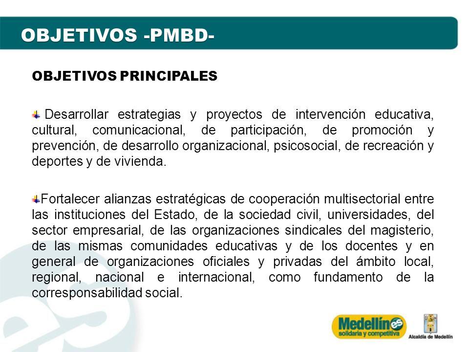 OBJETIVOS -PMBD- OBJETIVOS PRINCIPALES