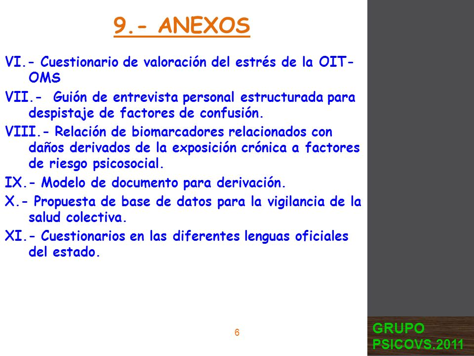 9.- ANEXOS VI.- Cuestionario de valoración del estrés de la OIT-OMS.