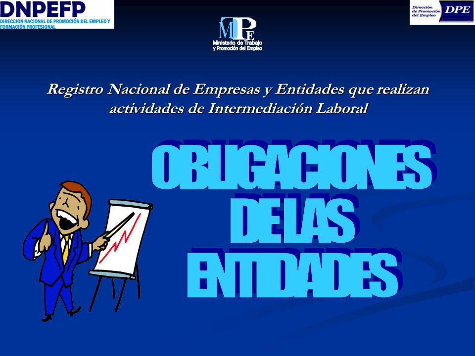 Ministerio de Trabajo y Promoción del Empleo OBLIGACIONES DE LAS