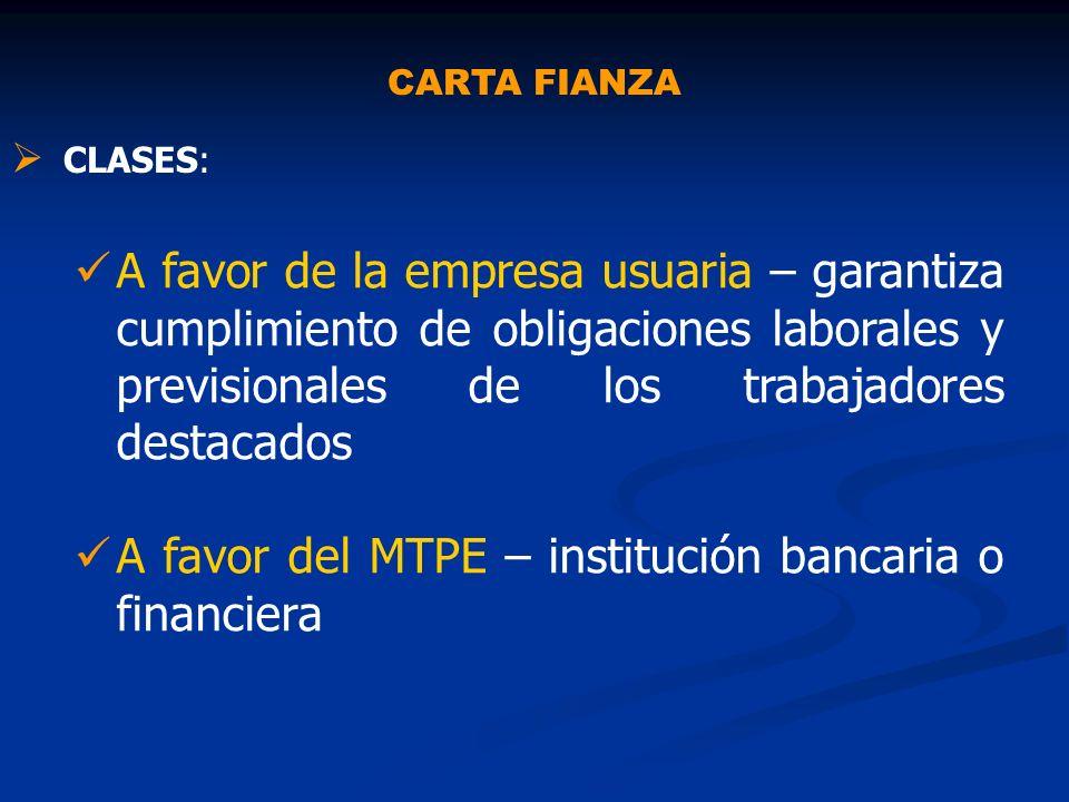 A favor del MTPE – institución bancaria o financiera