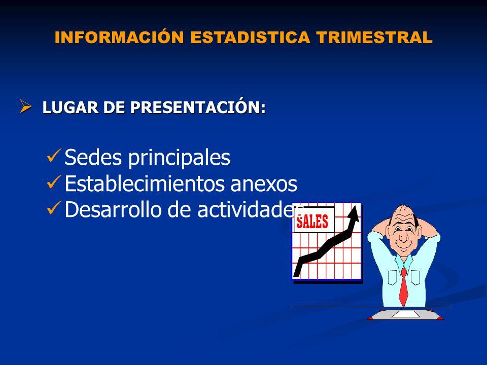 INFORMACIÓN ESTADISTICA TRIMESTRAL