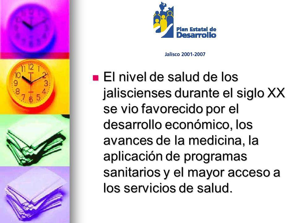 El nivel de salud de los jaliscienses durante el siglo XX se vio favorecido por el desarrollo económico, los avances de la medicina, la aplicación de programas sanitarios y el mayor acceso a los servicios de salud.