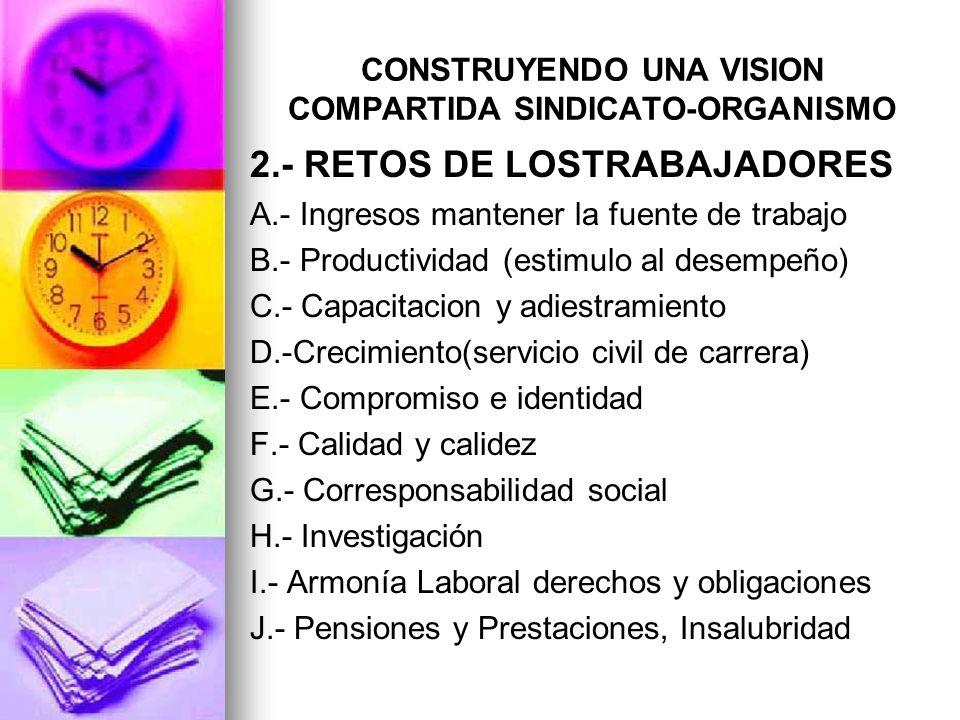 CONSTRUYENDO UNA VISION COMPARTIDA SINDICATO-ORGANISMO