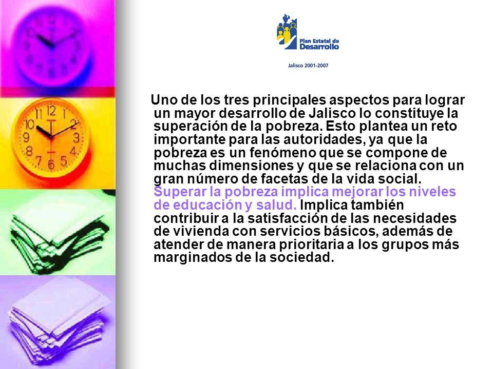 Uno de los tres principales aspectos para lograr un mayor desarrollo de Jalisco lo constituye la superación de la pobreza.