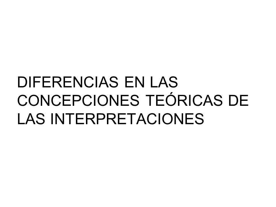 DIFERENCIAS EN LAS CONCEPCIONES TEÓRICAS DE LAS INTERPRETACIONES
