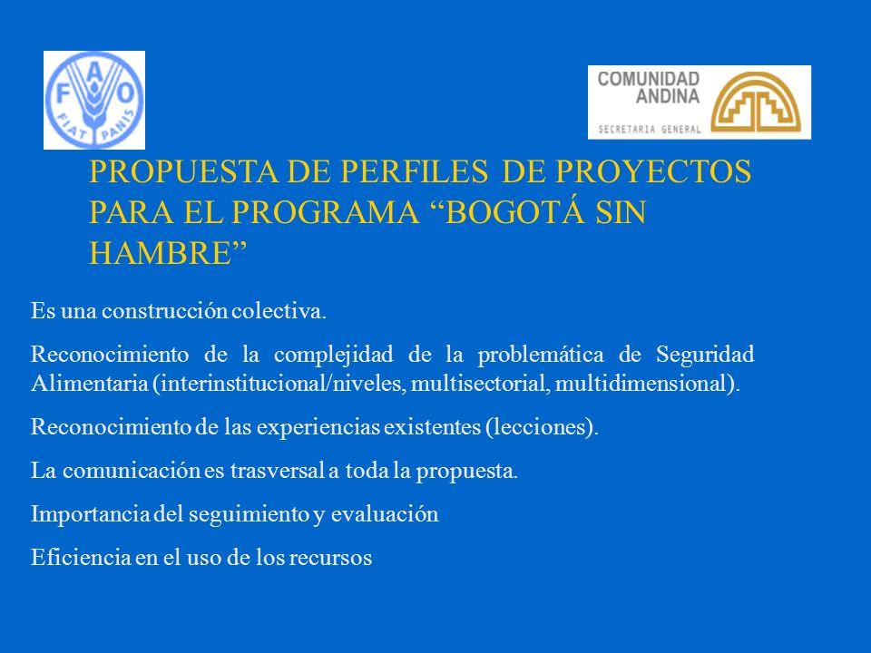PROPUESTA DE PERFILES DE PROYECTOS PARA EL PROGRAMA BOGOTÁ SIN HAMBRE