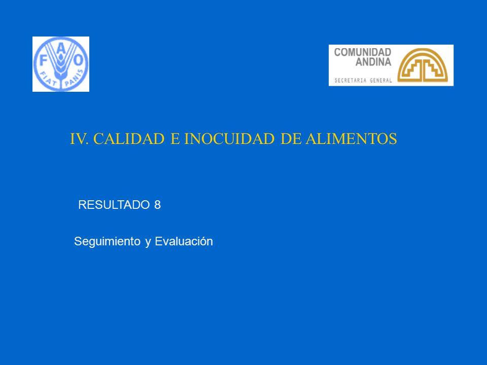 IV. CALIDAD E INOCUIDAD DE ALIMENTOS