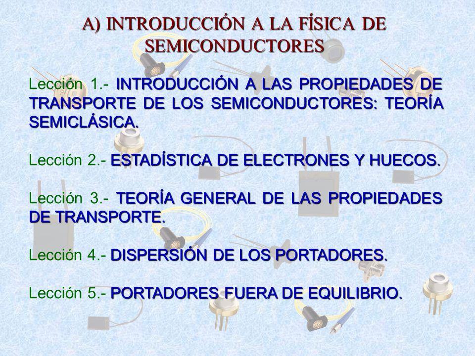 A) INTRODUCCIÓN A LA FÍSICA DE SEMICONDUCTORES
