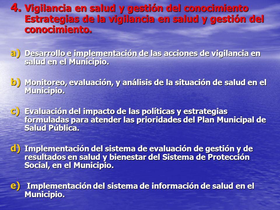 4. Vigilancia en salud y gestión del conocimiento Estrategias de la vigilancia en salud y gestión del conocimiento.