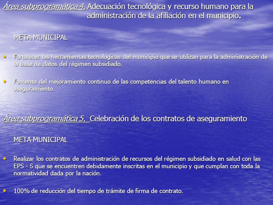 Área subprogramática 5. Celebración de los contratos de aseguramiento