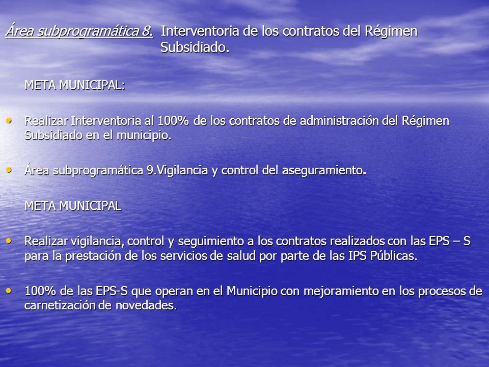 Área subprogramática 8. Interventoria de los contratos del Régimen