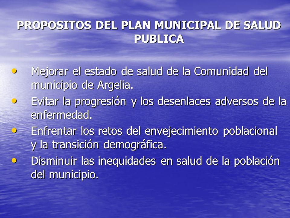 PROPOSITOS DEL PLAN MUNICIPAL DE SALUD PUBLICA