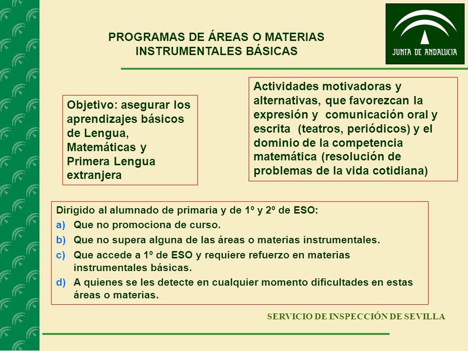 PROGRAMAS DE ÁREAS O MATERIAS INSTRUMENTALES BÁSICAS