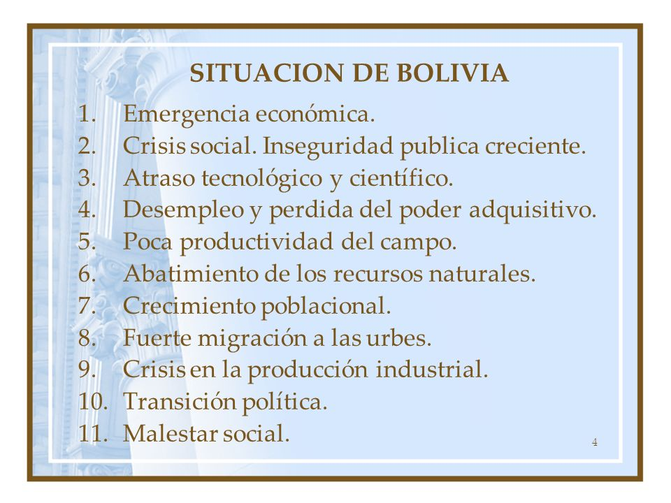 SITUACION DE BOLIVIA Emergencia económica.
