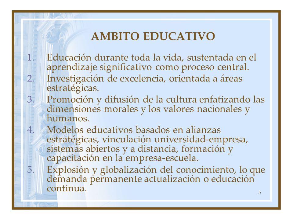 AMBITO EDUCATIVO Educación durante toda la vida, sustentada en el aprendizaje significativo como proceso central.