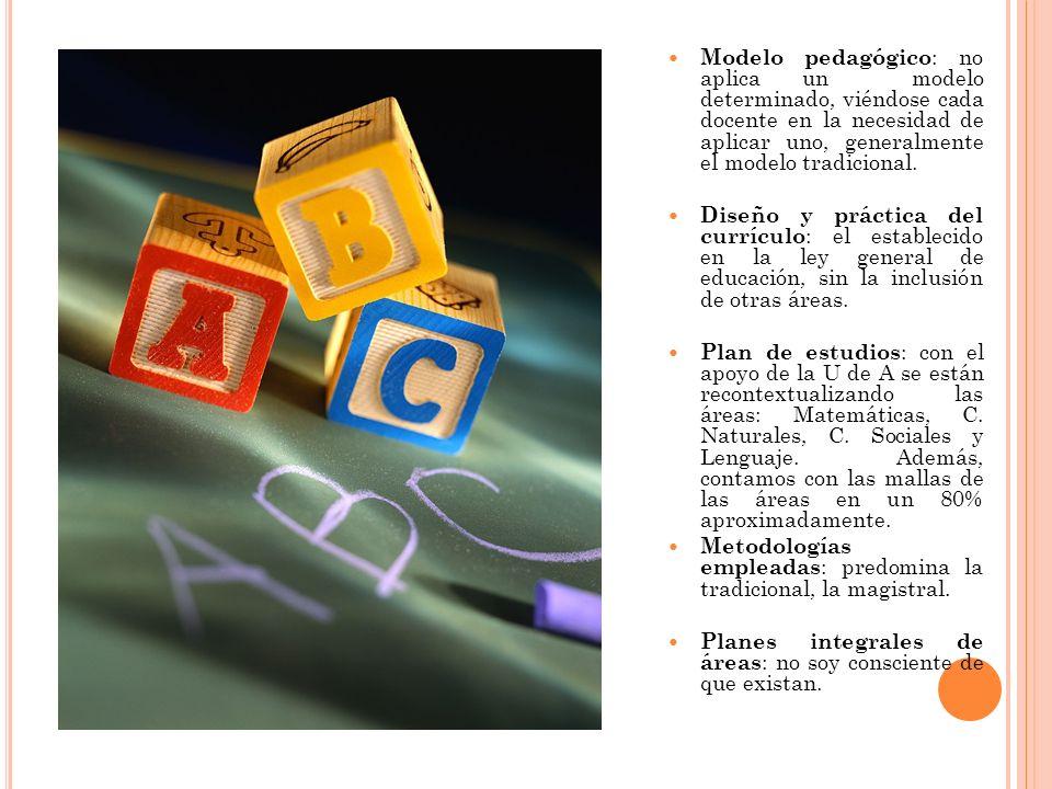 Modelo pedagógico: no aplica un modelo determinado, viéndose cada docente en la necesidad de aplicar uno, generalmente el modelo tradicional.