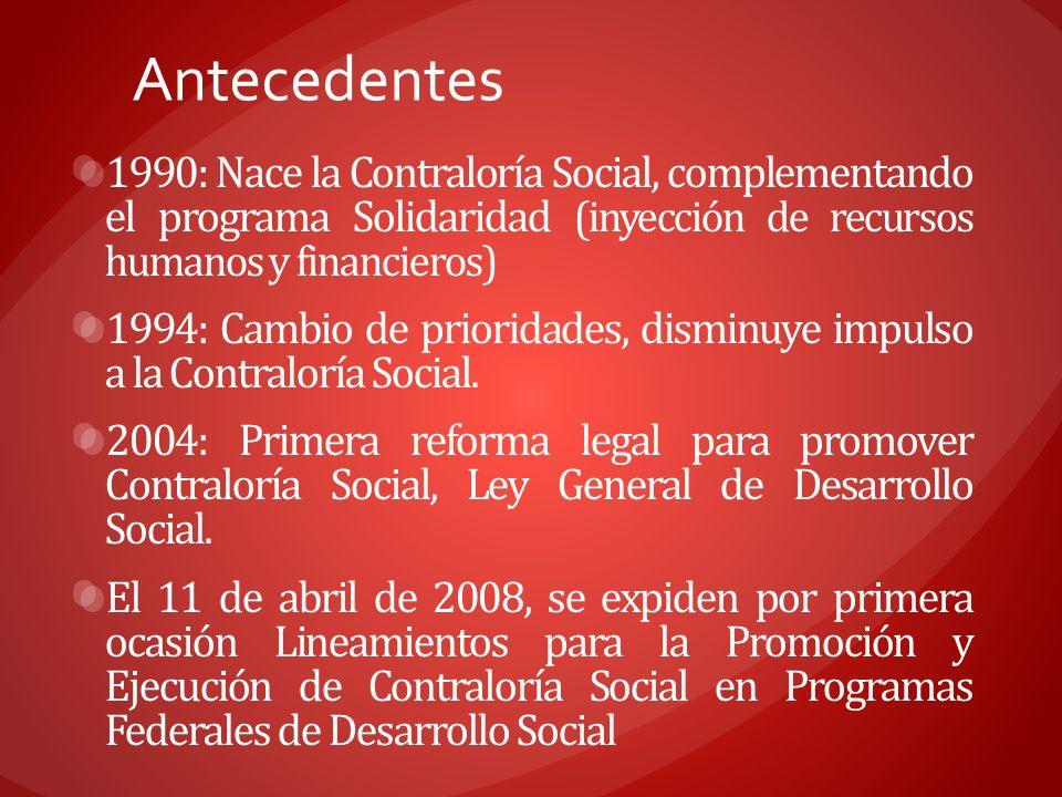 Antecedentes 1990: Nace la Contraloría Social, complementando el programa Solidaridad (inyección de recursos humanos y financieros)