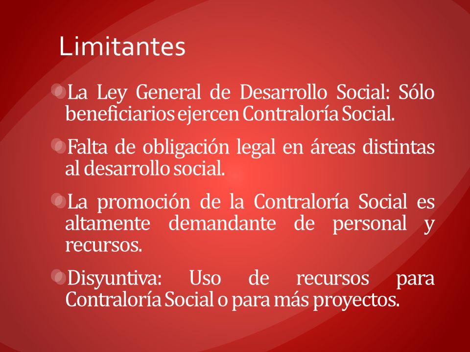 LimitantesLa Ley General de Desarrollo Social: Sólo beneficiarios ejercen Contraloría Social.