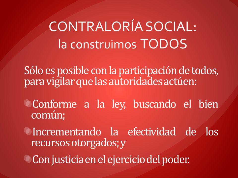 CONTRALORÍA SOCIAL: la construimos TODOS