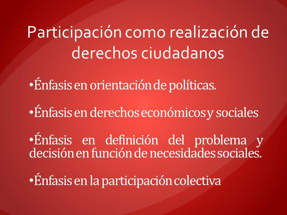 Participación como realización de derechos ciudadanos