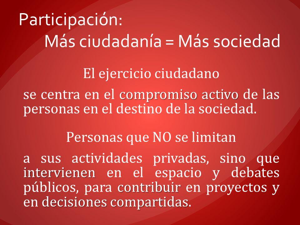 Participación: Más ciudadanía = Más sociedad