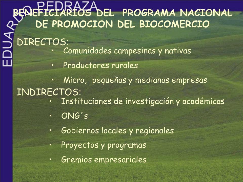 BENEFICIARIOS DEL PROGRAMA NACIONAL DE PROMOCION DEL BIOCOMERCIO