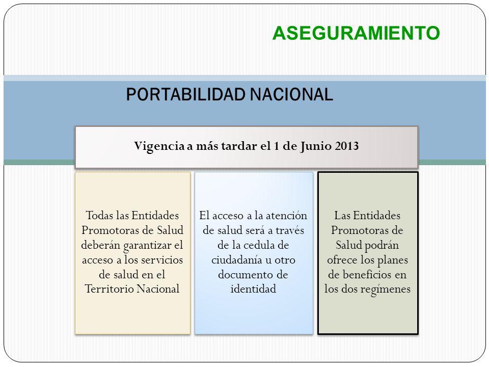 PORTABILIDAD NACIONAL Vigencia a más tardar el 1 de Junio 2013