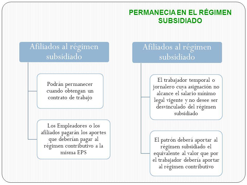 PERMANECIA EN EL RÉGIMEN SUBSIDIADO