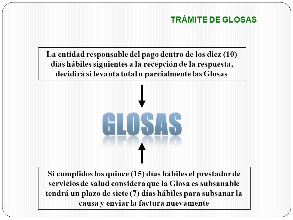 GLOSAS TRÁMITE DE GLOSAS
