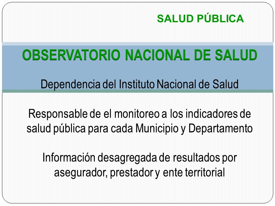 OBSERVATORIO NACIONAL DE SALUD