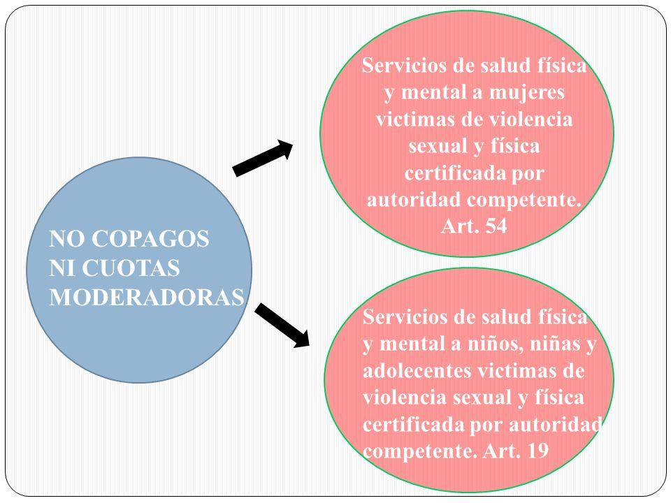NO COPAGOS NI CUOTAS MODERADORAS Servicios de salud física