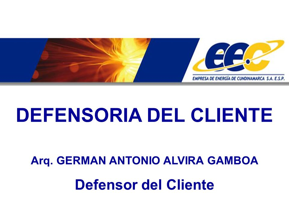 DEFENSORIA DEL CLIENTE Arq. GERMAN ANTONIO ALVIRA GAMBOA