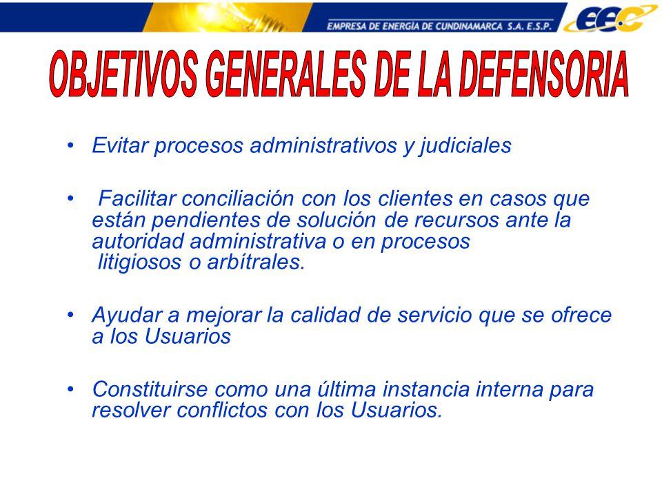 OBJETIVOS GENERALES DE LA DEFENSORIA