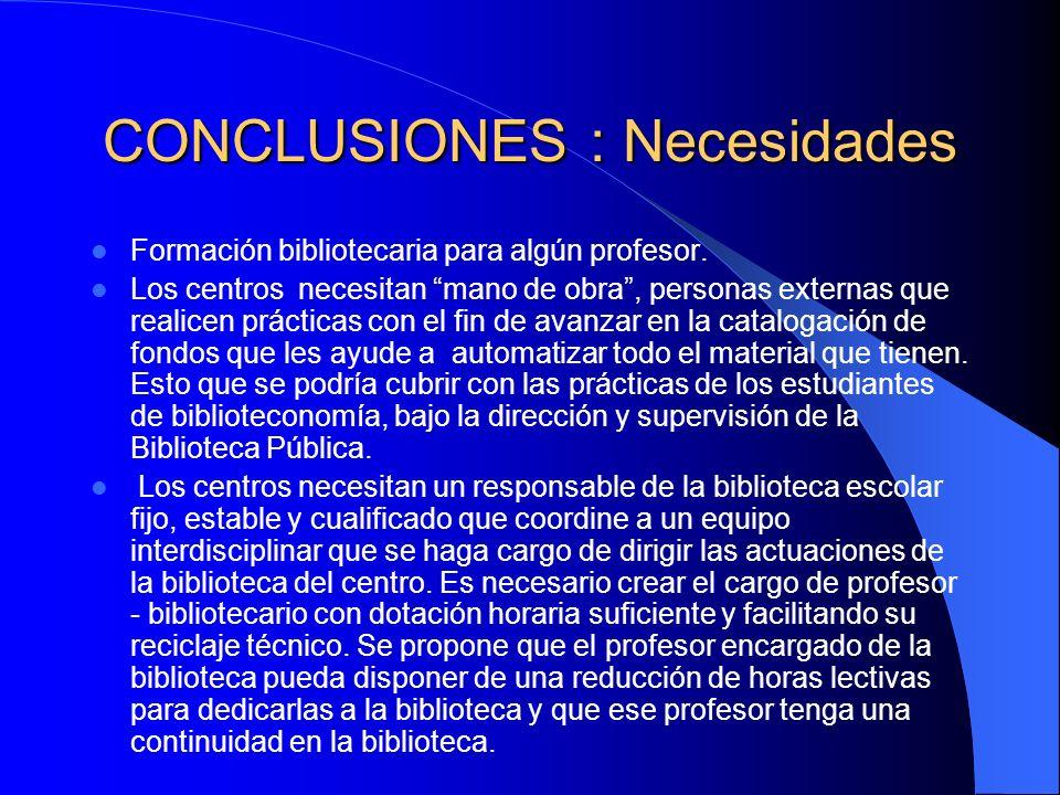 CONCLUSIONES : Necesidades