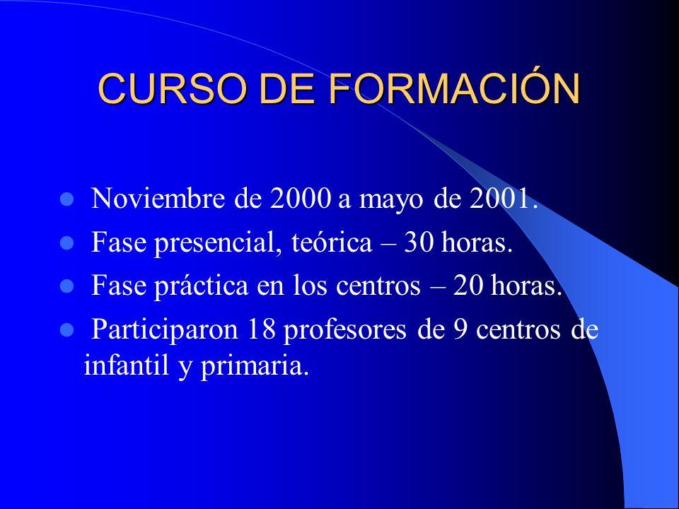CURSO DE FORMACIÓN Noviembre de 2000 a mayo de 2001.