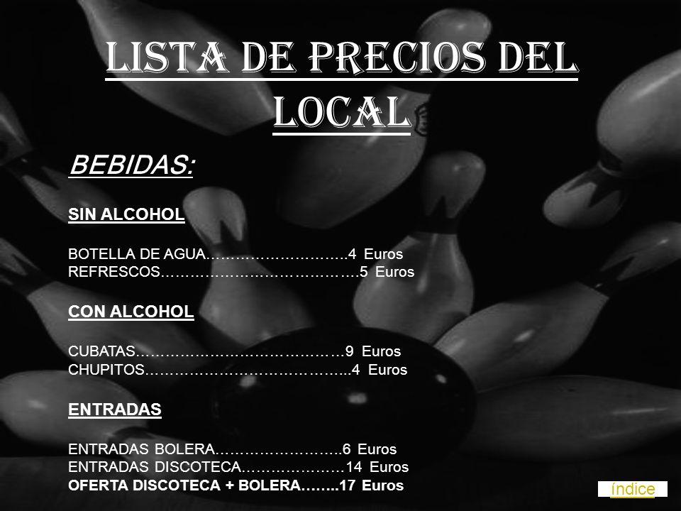 LISTA DE PRECIOS DEL LOCAL