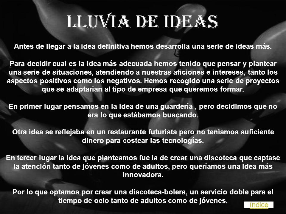 Lluvia de ideas Antes de llegar a la idea definitiva hemos desarrolla una serie de ideas más.