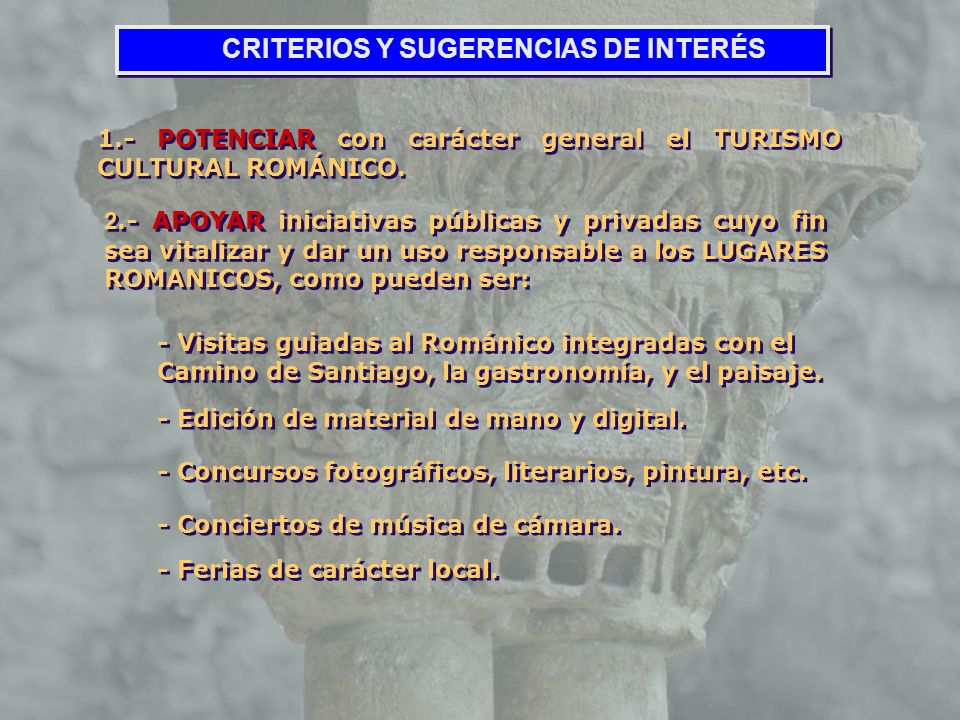 CRITERIOS Y SUGERENCIAS DE INTERÉS