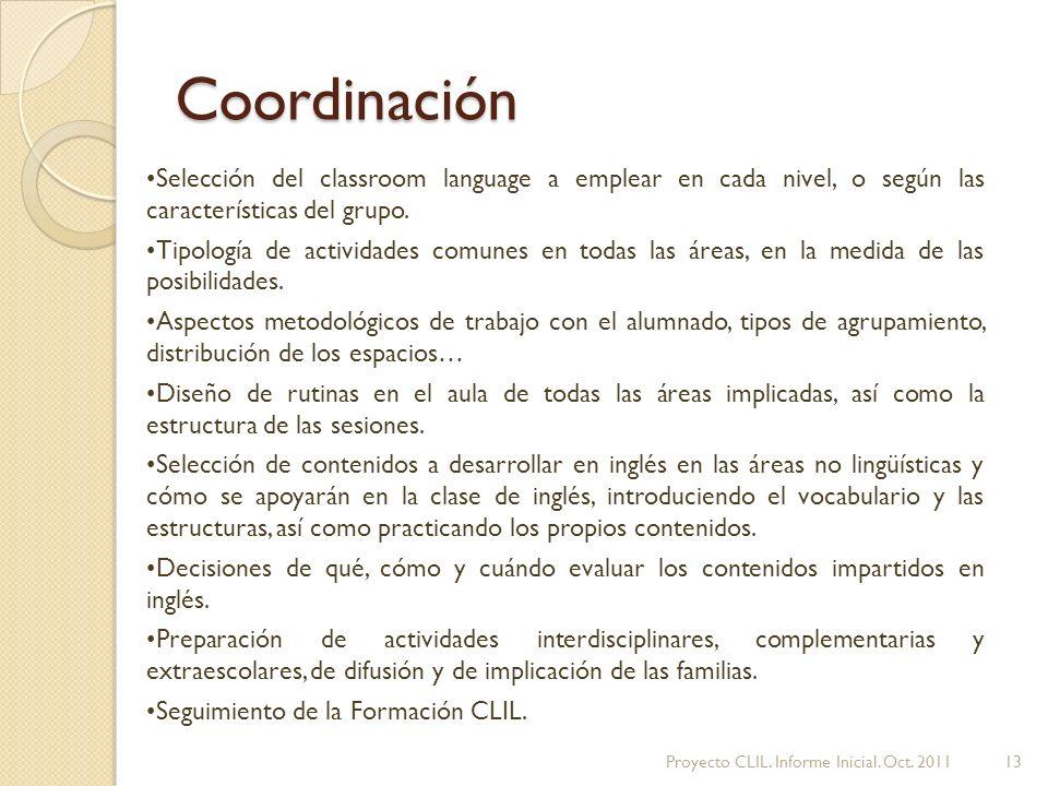 Coordinación Selección del classroom language a emplear en cada nivel, o según las características del grupo.
