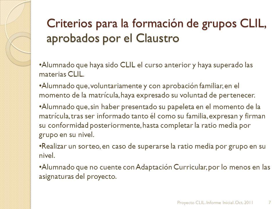 Criterios para la formación de grupos CLIL, aprobados por el Claustro