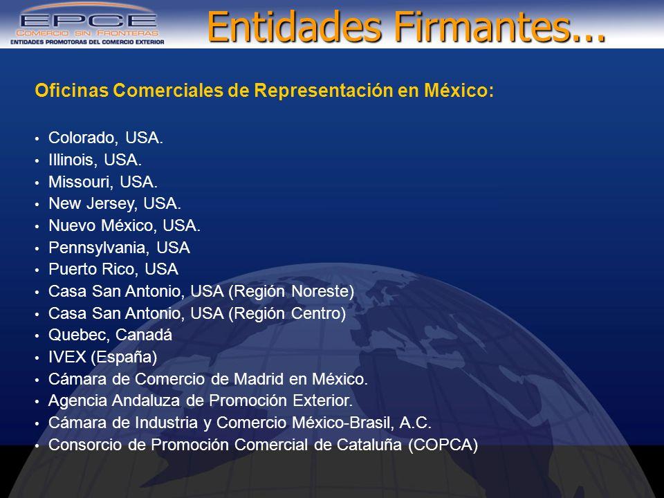 Entidades Firmantes... Oficinas Comerciales de Representación en México: Colorado, USA. Illinois, USA.